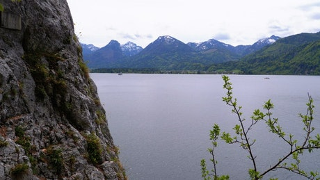 Landscape view of the lake in the mountains