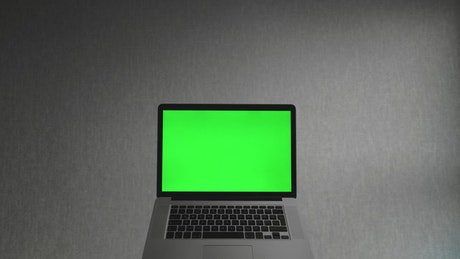 Laptop computer with a green screen