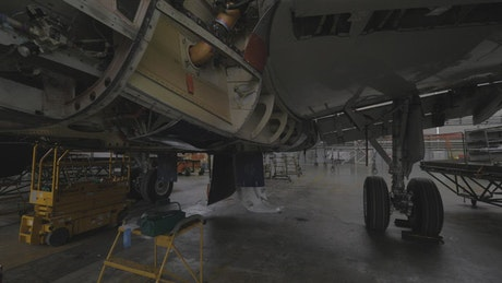 Large aircraft in maintenance