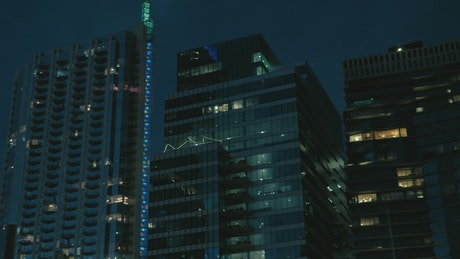 Large buildings of a city at dusk