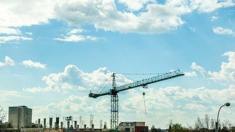 Large construction crane moving