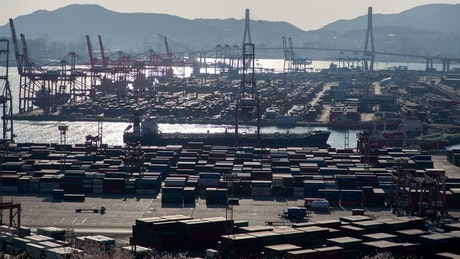 Large container area on a shoreline on a sunny day