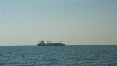 Large container ship out in the ocean