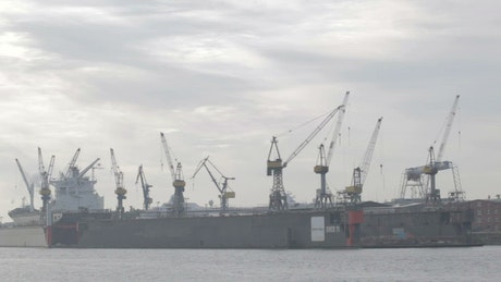 Large cranes moving in Hamburg