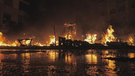 Large fire burning through the night