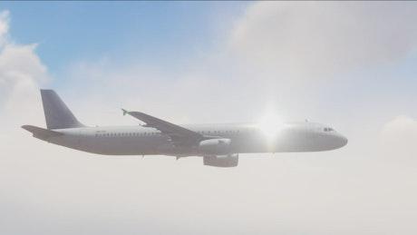 Large passenger plane flying in the sky