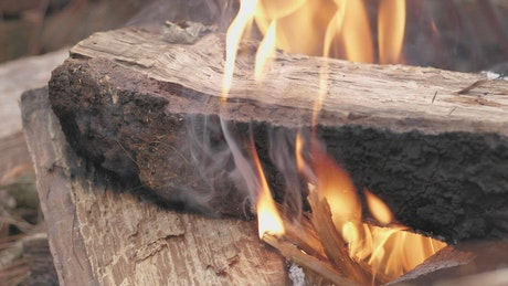Large piece of wood on flames