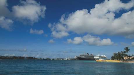 Large ship in the Bahamas