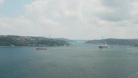 Large ships leaving Istanbul