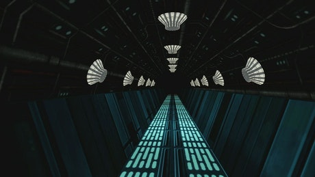 Leaving a spaceship tunnel, 3D render