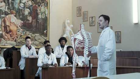 Lecture of anatomy in the classroom