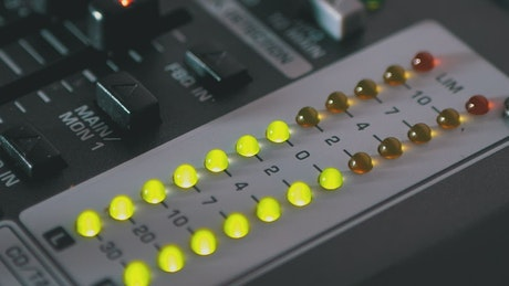 LED light indicators in a DJ mixing machine
