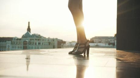 Legs of a elegant woman dancing