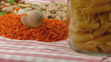 Legumes in jars on a table