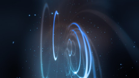 Light rings moving in space, render