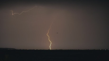 Lightning breaking through the night