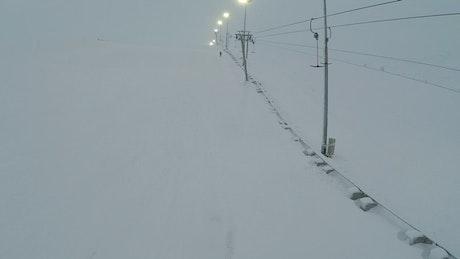 Lights above a ski lift