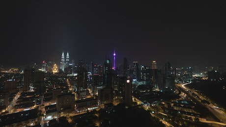 Lights across the city in Malaysia