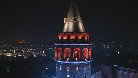 Lights on top of the Galata Tower