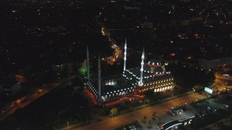 Lights over a Mosque at night
