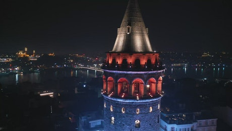 Lights throughout the Galata Tower