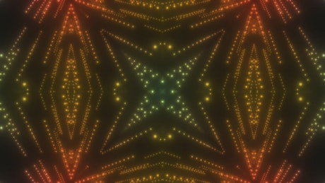 Lines of blinking dots in symmetrical patterns