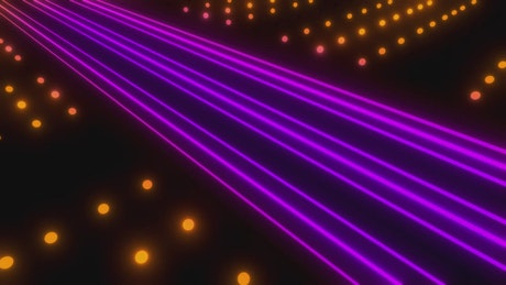 Lines of purple light with points of orange light