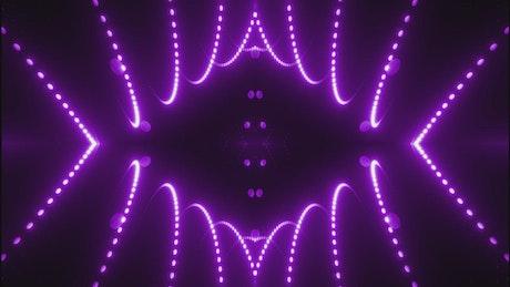 Lines of violet light dots waving