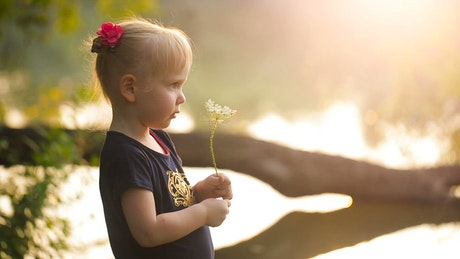 Little girl smelling a flower in nature