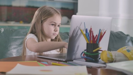 Little girl studying on a computer