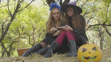 Little girls in halloween costumes use tablet under tree