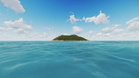 Little island close to a clean sea