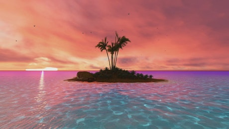 Little tropical island at sunset