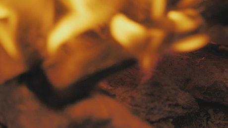 Live fire burning wood slowly