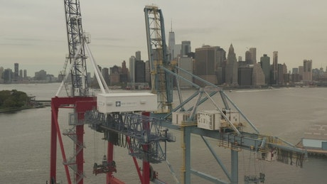 Loading cranes for cargo ships in the dock