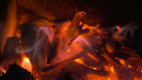 Log fire burning hot