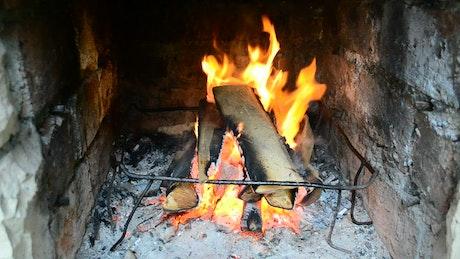 Log fire burning inside