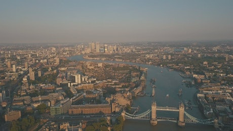 London overlooking the river and buildings