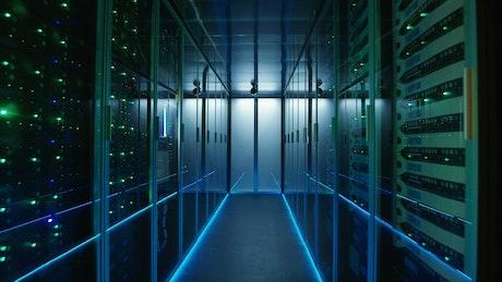 Long hallway in data center