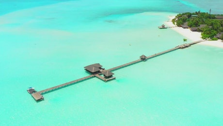 Long pier in the sea of an island