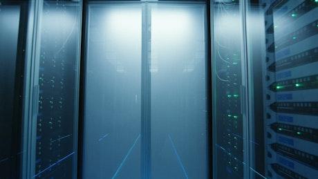 Long server rack hallway
