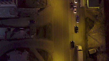 Looking down over evening traffic
