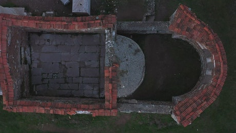 Looking down upon an ancient building