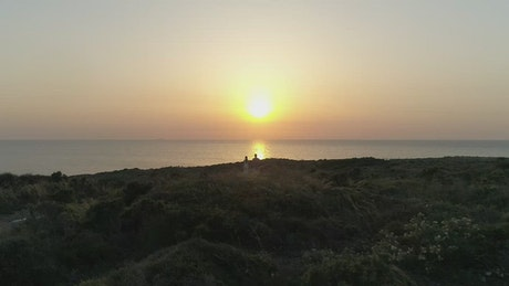 Looking towards the sunset over the coast