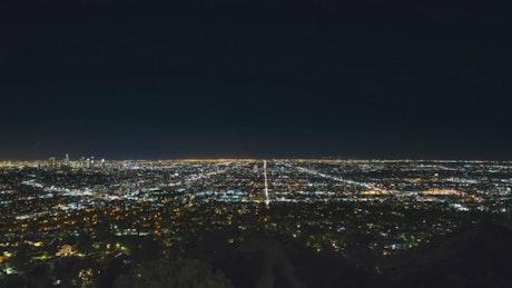 Los Angeles at night, static drone shot