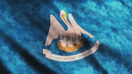 Louisiana flag waving, 3D animation