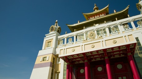 Low view of a Buddhist temple