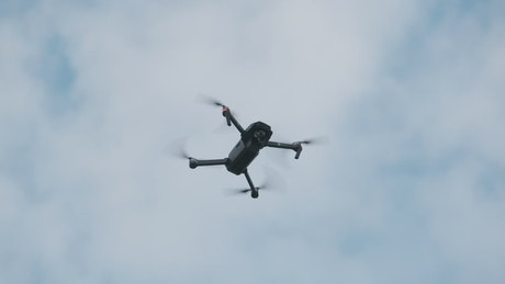 Low view of a drone flying