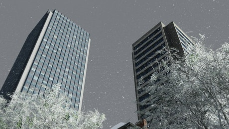 Low view of an office building while snowing