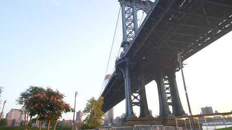Low view of the Brooklyn Bridge